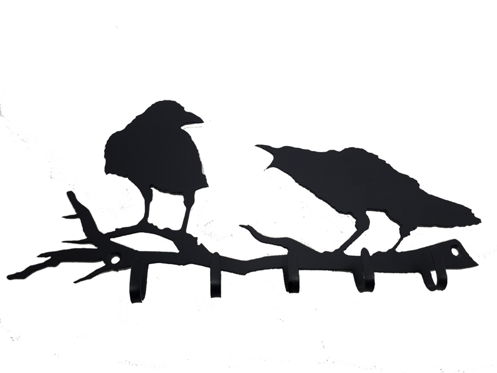 The matte black silhouette of two crows standing on a branch. The right crow is cawing at the left crow. The right crow has a jagged outline which creates a realistic impression of ruffled feathers. The left crow seems unfazed by it crying counterpart.  Five small metal hooks protrude from the bottom of the branch. Two holes are punched at either end of the branch, allowing the piece to be mounted with two nails or screws.