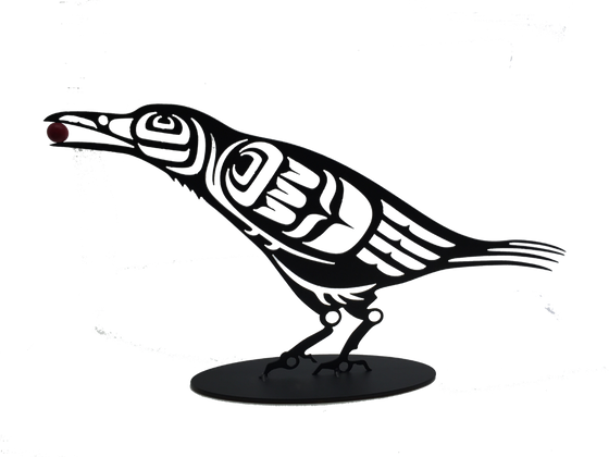 This metal sculpture shows the matte black silhouette of a crow drawn in Coastal Salish style. It is leaning forward with a red orb or berry in its beak. This bird has a slimmer beak and tail than a raven, but it still has well defined tail feathers and a small neck ruff.