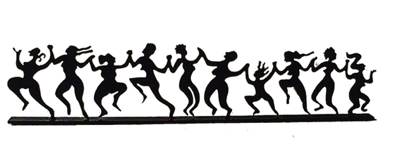 This metal sculpture shows the matte black silhouette of a ten dancing women. They are holding hands in a line. Each woman has a unique silhouette. They dance exuberantly with arms raised and heads thrown back. Some women seem to jump off of the ground. This piece rests on a narrow rectangular base.
