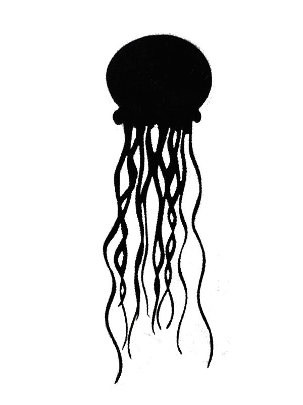 This metal sculpture shows the matte black silhouette of a jellyfish. It has an almost circular dome and a dozen long wave tendrils which hang downward.