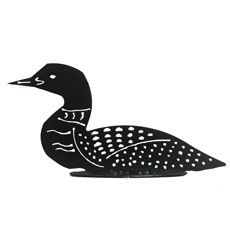 This metal sculpture shows the matte black silhouette of a loon. The metal has been delicately punched through to form the beak, collar and signature dappled spots of this bird. It sits on an oval base.
