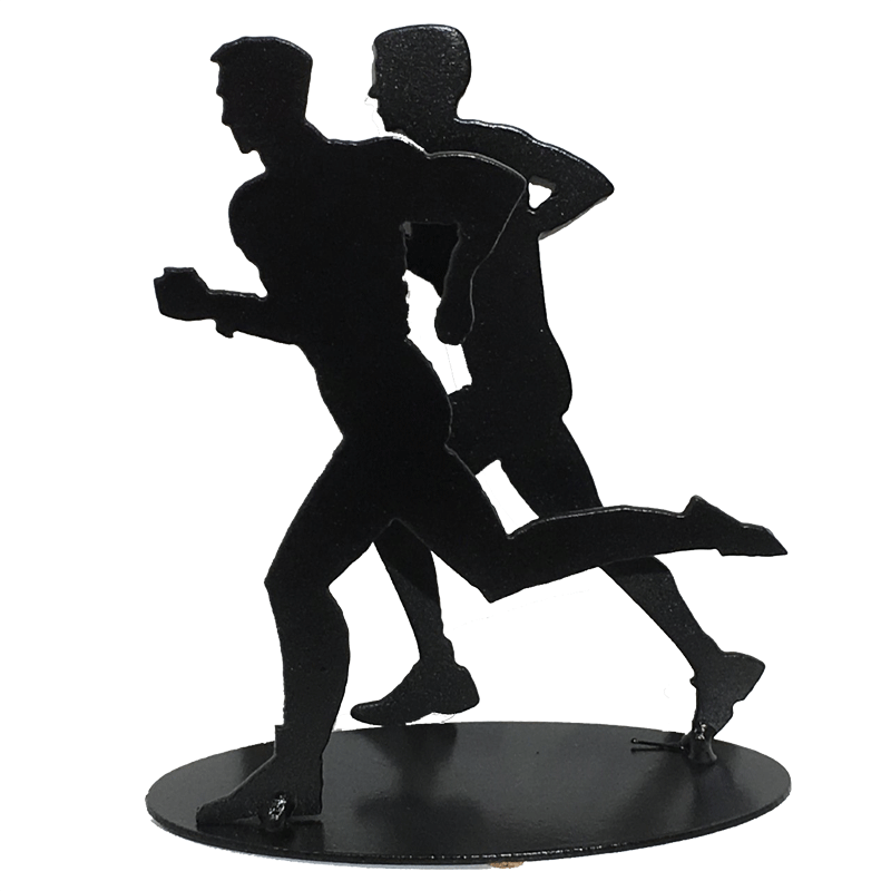 This sculpture shows two male figures running together. As before, both are moving quickly, with one foot planted on the ground and arms in full motion.