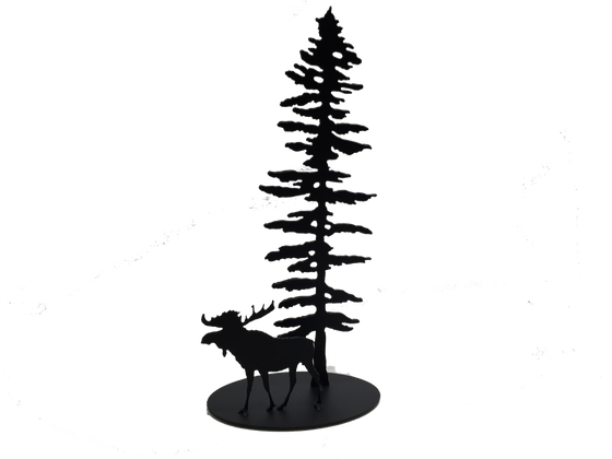 A metal sculpture showing the matte black silhouettes of a Sitka pine tree and a moose. The moose stands to the left of the tree, facing left. It has a full set of antlers and a pronounced dewlap. The tree is tall but slim. Its short, broad branches are about the same length along the whole tree, except at the top where they form a point. The sculpture sits on an oval base.
