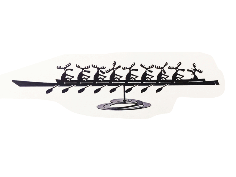 This metal sculpture shows the matte black silhouette of a boat piloted by nine cartoonish moose. The eight leftmost moose are rowers. Their oars are in the water, and they appear to be bracing for the next stroke. The rightmost moose is the coxswain, who calls out to the rowers to guide them. This piece stands on a metal spiral which allows the piece to sway in place like a boat on the waves.