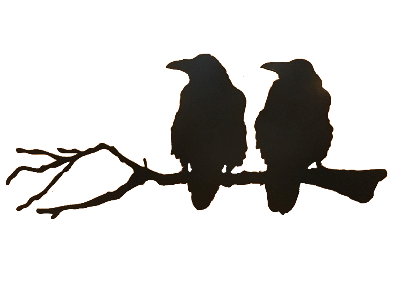 The matte black silhouetted of two ravens seated on a long branch. Both ravens look to the left. A slight roughness to their outline creates a realistic impression of ruffled feathers. The branch is similarly realistic, with small knots, crooks, and broken twig stumps.
