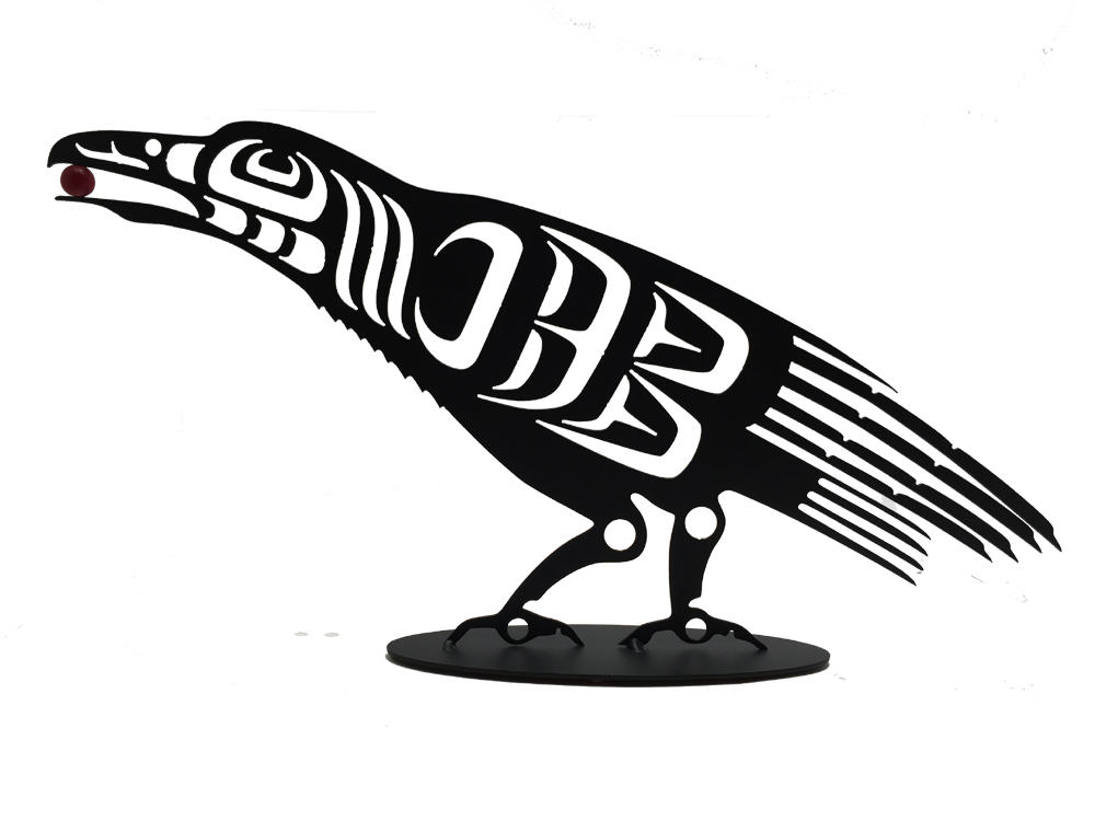 This metal sculpture shows the matte black silhouette of a Coastal Salish raven. It is leaning forward with a red orb or berry in its beak. The broad tail is well defined, with many fine feathers. A long jagged edge on the neckline indicates the raven's signature large neck ruff.