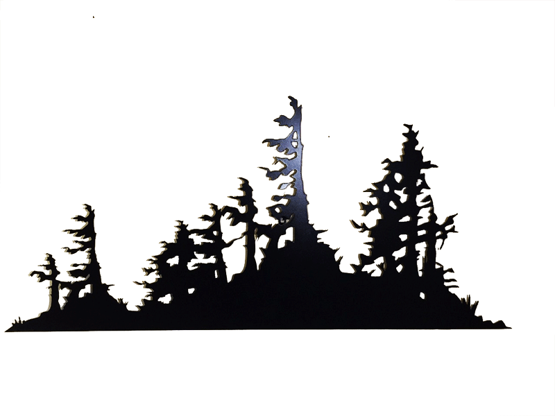 This metal sculpture shows the matte black silhouette of a mound of trees and bushes.  Rough, rugged trees emerge from the dense bushes below. The trees have broken branches and their leaves grow to one side, suggesting they live in a harsh, windy place. The highly detailed edges give this piece a strong sense of realism.