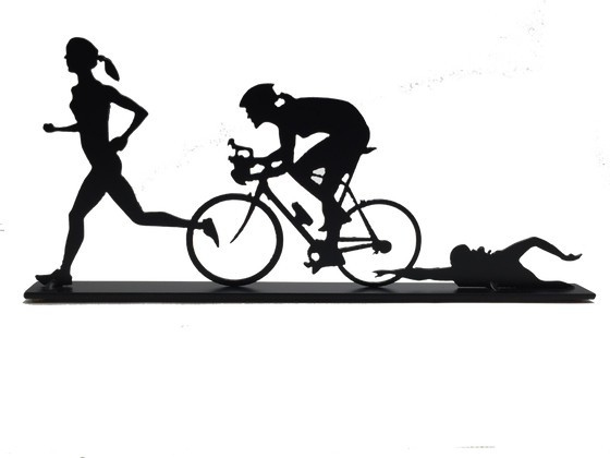 This metal sculpture shows the matte black silhouette of three female figures, each doing one trial in a triathlon. The leftmost is running, the center is biking, and the rightmost is swimming. The silhouettes slightly overlap each other. This piece sits on a narrow rectangular base.