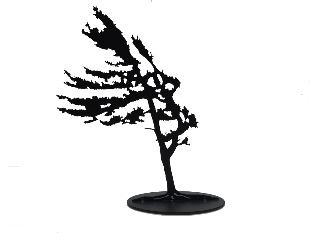 This metal sculpture shows the matte black silhouette of a pine tree being blown in the wind. It leans slightly to the left, branches flowing elegantly. Its straight trunk and fully foliage give an impression of hardiness and strength despite the strong wind. This piece sits on an oval base.