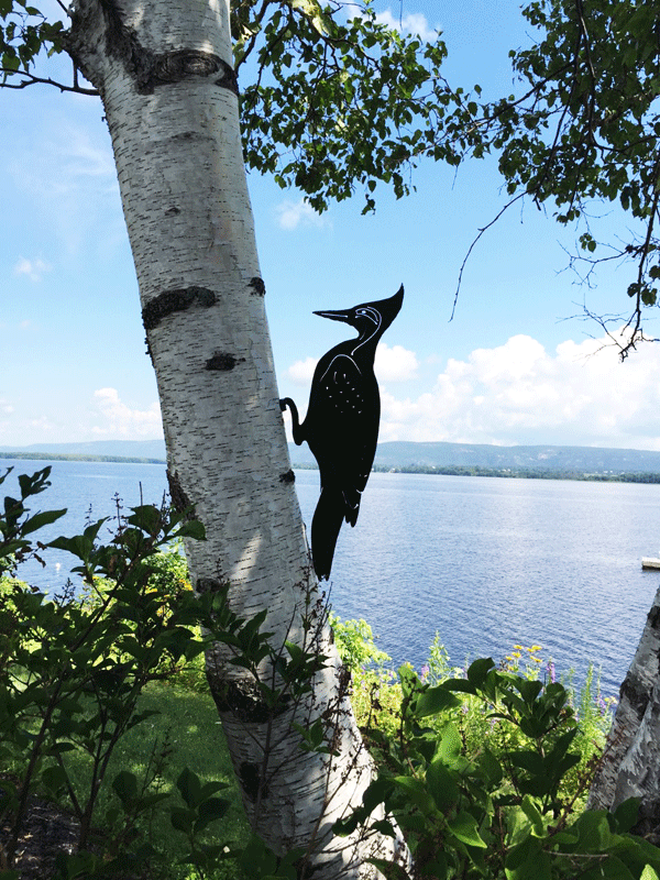 The same woodpecker sculpture shown at a distance.