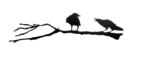 The matte black silhouette of two crows standing on a branch. The right crow is cawing at the left crow. The right crow has a jagged outline which creates a realistic impression of ruffled feathers. The left crow seems unfazed by it crying counterpart.  The branch is also realistic, with small knots, bumps, and broken twig ends.