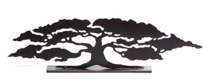 This metal sculpture shows the matte black silhouette of a sprawling oak tree, three times as wide as it is tall. A broad trunk splits into numerous slender branches, which end in full foliage. The piece has an serene, balanced feel. It sits on a rectangular base.