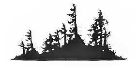 This metal sculpture shows the matte black silhouette of a mound of trees and bushes.  Rough, rugged trees emerge from the dense bushes below. The trees have broken branches and their leaves grow to one side, suggesting they live in a harsh, windy place. The highly detailed edges give this piece a strong sense of realism. It sits on a narrow oval base.