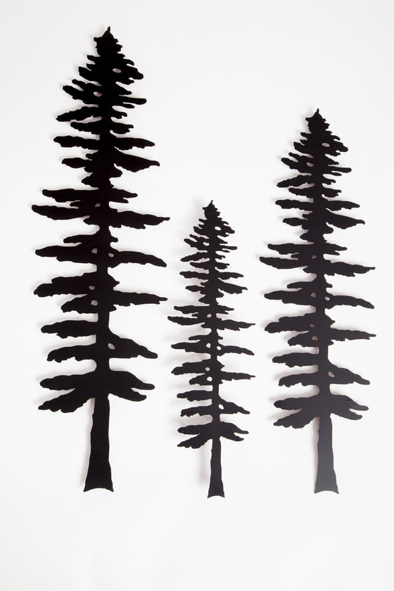 Three metal sculptures each show the matte black silhouette of a Sitka pine tree.  The designs of each tree are identical, but each sculpture is a different size, with the largest on the left and the smallest in the center. The Sitka tree is tall but slim. Its short, broad branches are about the same length along the whole tree, except at the top where they form a point.