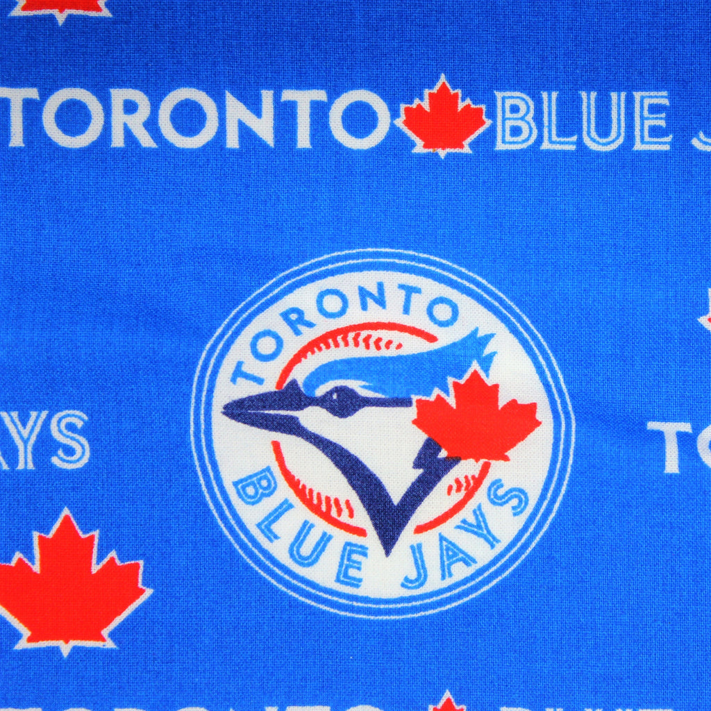 Blue face mask with a repeating pattern of the Toronto Blue Jays logo.