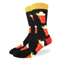 These fun socks feature red solo cups overflowing with beer as a ping pong ball lands into them. The heel of the socks are red, the rim is yellow, and the rest of the sock is black. Spandex added to the 85% cotton blend gives the socks the perfect amount of stretch to hug your feet.