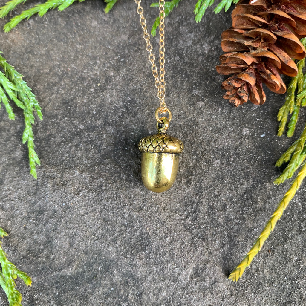 A small gold acorn charm on a gold chain sits on a stone background.  The gold has a bright finish. Around the picture are decorative evergreen leaves and a pine cone.