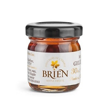 Brien maple jelly is made using only pure maple syrup and agar. This jelly is perfect in so many recipes, on charcuterie boards and also with breakfast. This product comes in a glass container which holds 30 mL of maple jelly. Ingredients: pure maple syrup, water, agar-agar.