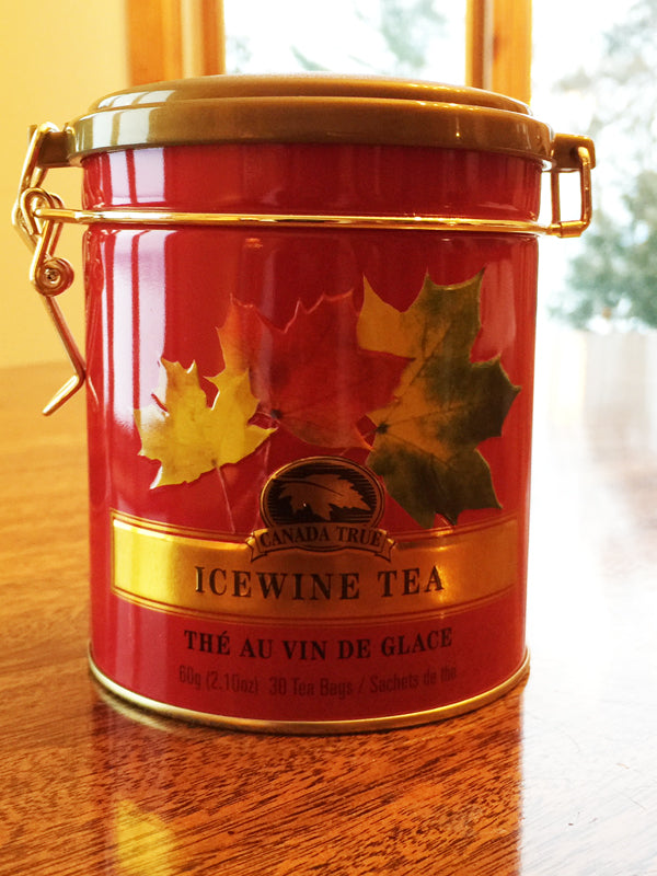 Canadian made ice wine tea in a red tin with a latch seal