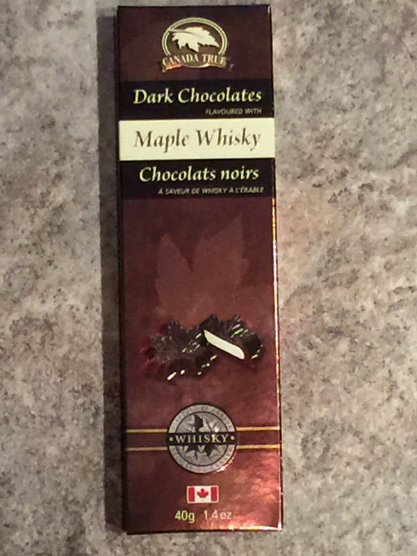 These chocolates are the perfect combination of rich dark chocolate and Canadian maple whiskey cream. Each box contains 5 maple leaf shaped chocolates which are housed in a decorative brown box. Contains milk, soy, and sulphites. May contain peanuts, tree nuts, and eggs.