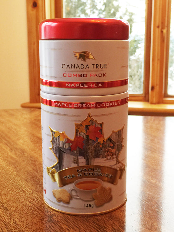 Canadian made maple tea and maple cookies in a red and white tin
