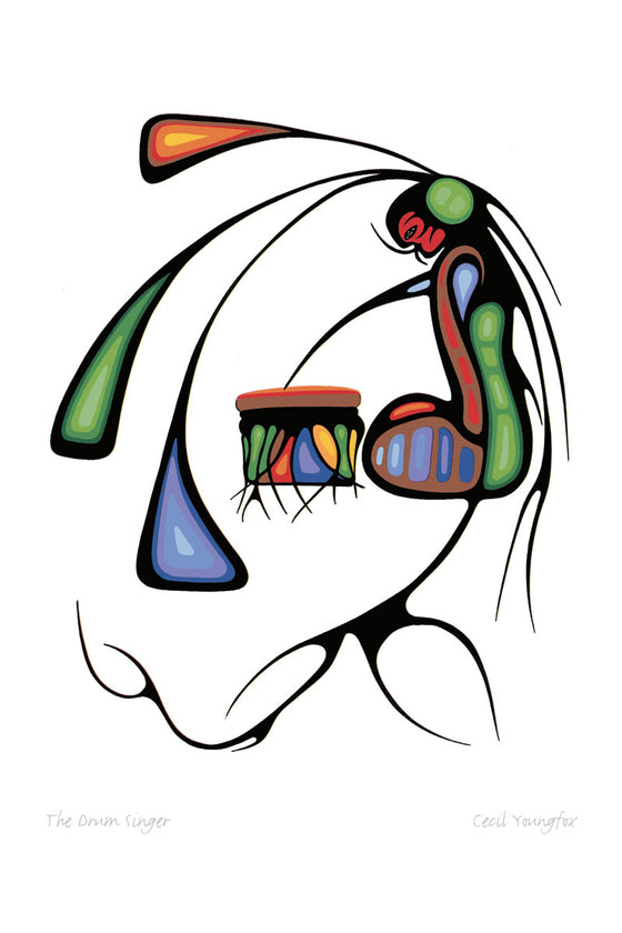 An abstract image of a seated figure playing a drum. The figure looks down at the drum, with one slender arm touching the top. Their body is made of concentric shapes coloured red, blue and green. Three long triangular forms emerge from the figure's head and drape left and down across the picture.  Slender black lines emerge from the figure's hair and back, branching and flowing downward. This Canadian Indigenous print was created by Cecil Youngfox, an Ojibwa and Metis artist from Blind River, Ontario.
