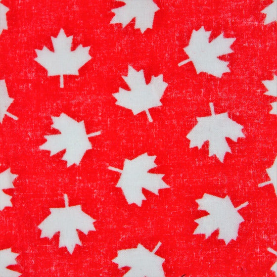 Red Canadian made face mask featuring white maple leaves