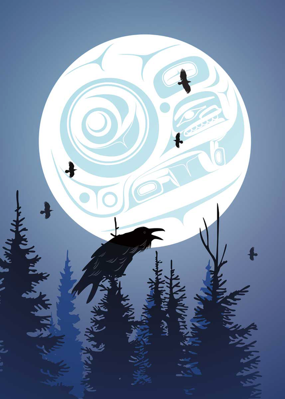 A complex first nation's moon lights up the night sky.  Below the moon, several pines trees are silhouetted. It is slightly foggy. A large croaking raven sits at the top of the center tree. In the background are five flying birds. This Canadian Indigenous print was painted by Tlingit artist Mark Preston. He was born in Dawson CIty, Yukon.