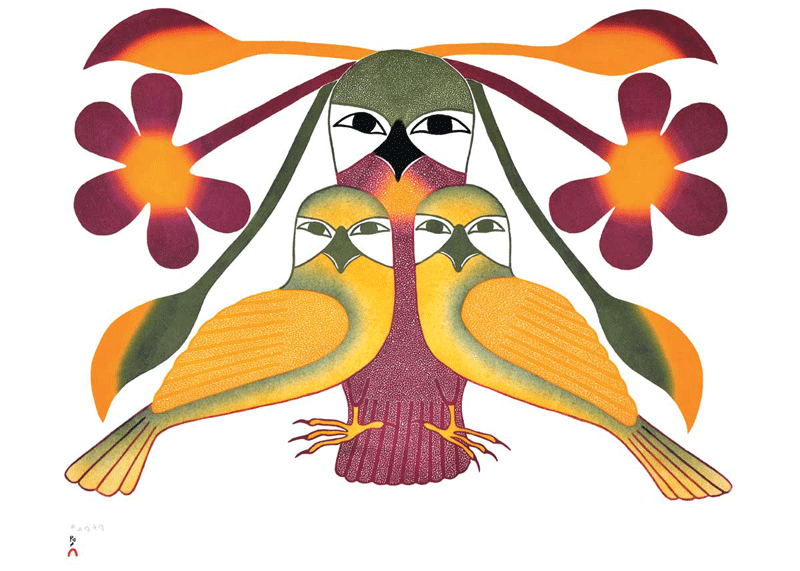 A large purple owl is flanked by two smaller yellow owls. All owls face the viewer. The large owl has leaves and flowers balanced on its head. This Canadian Indigenous print was painted by Kenojuak Ashevak, an Inuit artist from Ikirasaq, southern coast of Baffin Island. Ashevak's signature is at the bottom left.