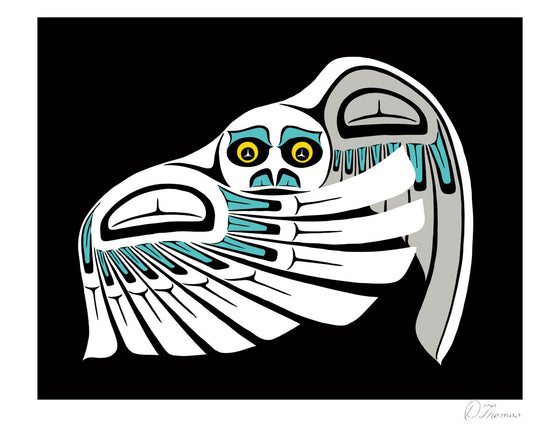 A snowy owl drawn in the Coastal Salish style. Its right wing is raised across its body, partially obscuring it. The left wing is half raised behind it. Black trigons and black and blue u-shapes create the details of its wings. A white trigon twinkles in each of its yellow eyes. The background is pure black. This Canadian Indigenous print was created by Metis artist Derek Thomas. He is from Duncan, BC, and prefers the Coastal Salish style for his art.