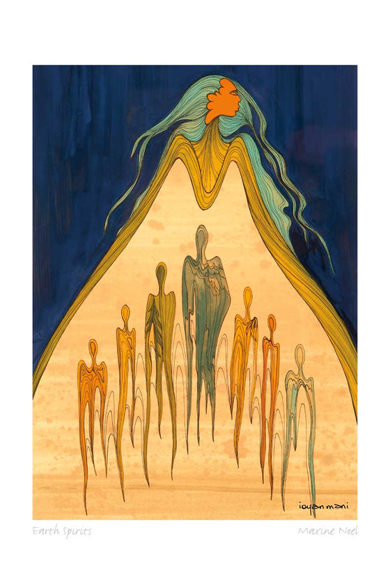 A woman with brown skin and teal hair stands against a dark blue background. She is wearing a yellow cloak or dress. The cloak or dress splits open in the front to reveal abstract human shapes. The human shapes are coloured orange, green or blue on a light brown background. This Canadian Indigenous print was painted by Maxine Noel, a Sioux artist born on the Birdtail Reserve, Manitoba.