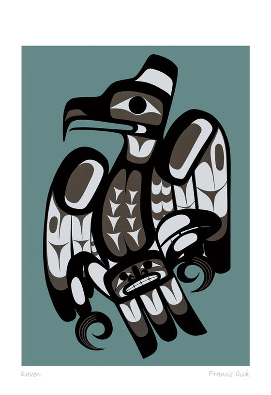 A raven drawn in northwest coastal style. The raven is made of black, grey, and white shapes. A human-like face can be seen near its tail feathers. It is on a dark teal background. This Canadian Indigenous print was created by Kwakwaka 'wakw artist Francis Dick. She was born into the Musqamakw Dzawadaenutw Band in northern Vancouver Island.