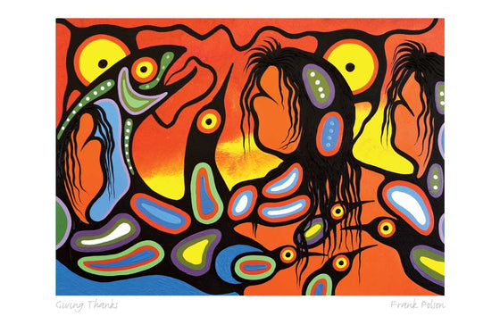 Three figures stand together with salmon and birds. The leftmost figure appears to be encircled by a salmon. The picture is drawn with the bold, dark line work of the Woodland Algonquin style. The background is an orange and yellow sky, contrasting with the blue and green fish and birds. This Canadian Indigenous print was painted by Frank Polson of the Long Point First Nation in northwest Quebec.