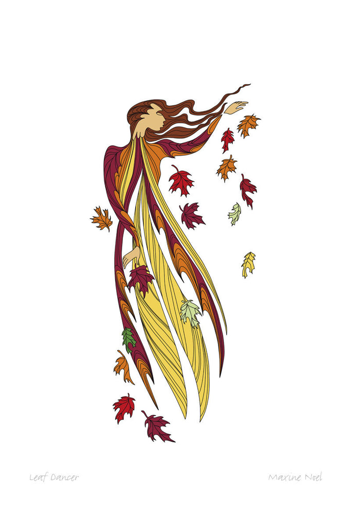 A woman faces right against a white background. Her left arm is raised to the right. She is surrounded by autumn coloured leaves. Wind blows left to right across the picture, blowing the woman's long hair, dress, and the leaves.  This Canadian Indigenous print was painted by Maxine Noel, a Sioux artist born on the Birdtail Reserve, Manitoba.