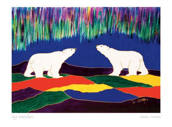 Two polar bears looking up at an aurora. The land is made of abstract colourful shapes. The sky is dark blue. Numerous green and purple streaks form an aurora. This Canadian Indigenous print was painted by Dawn Oman, a Dene artist from Yellowknife, North West Territories.