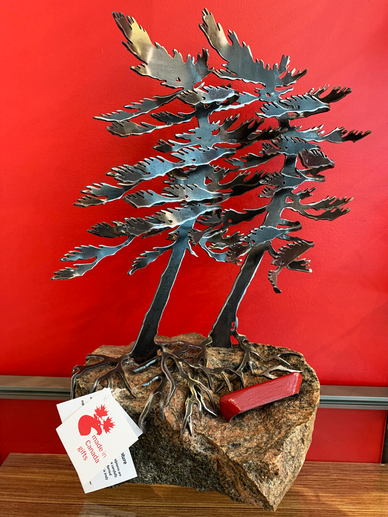 Windswept Pine & Canoe Sculpture