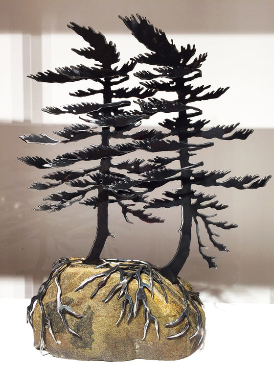 Windswept Pine Sculpture - Large (Double Tree)