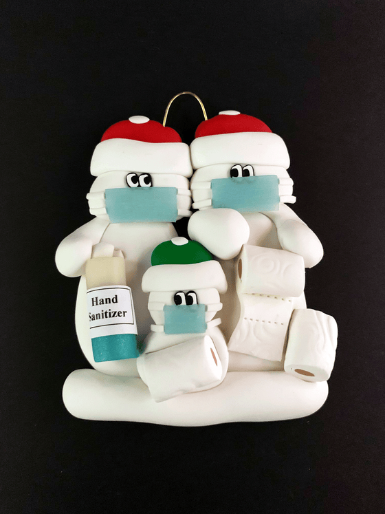 COVID Themed Family of 3 Ornament