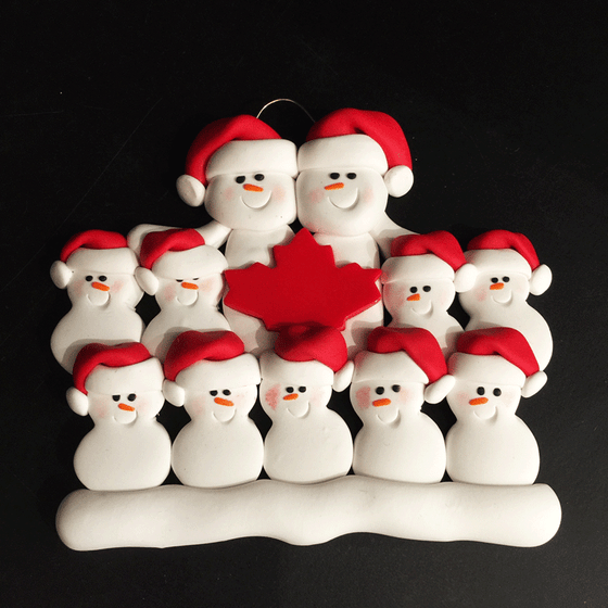 Maple Leaf Snowman Family of Eleven Ornament