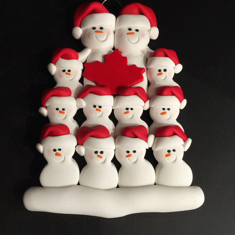 Maple Leaf Snowman Family of Twelve Ornament