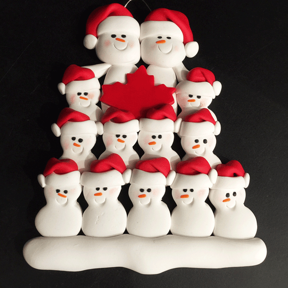 Maple Leaf Snowman Family of Thirteen Ornament