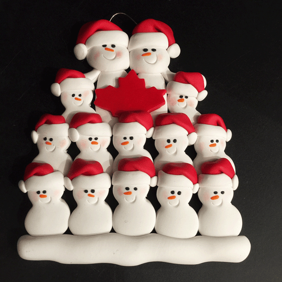 Maple Leaf Snowman Family of Fourteen Ornament