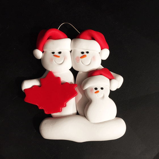Maple Leaf Snowman Family of Three Ornament