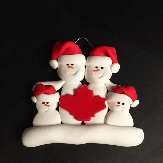 Maple Leaf Snowman Family of Four Ornament