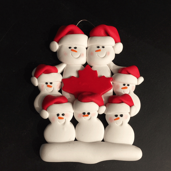 Maple Leaf Snowman Family of Seven Ornament