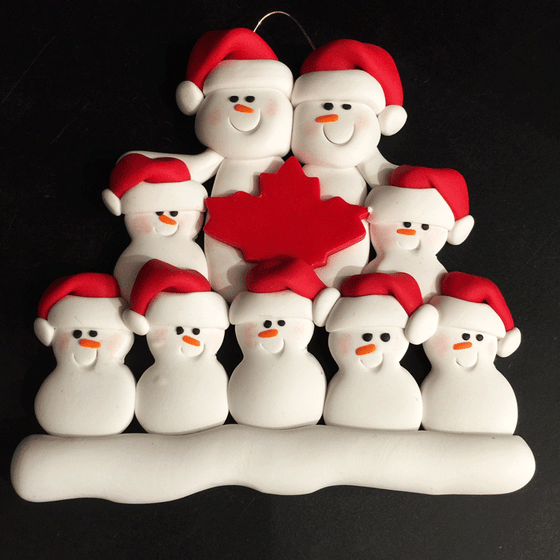 Maple Leaf Snowman Family of Nine Ornament