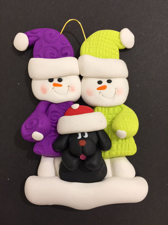 Couple with Black Dog Ornament
