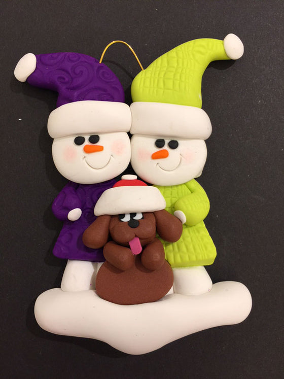 Couple with Brown Dog Ornament