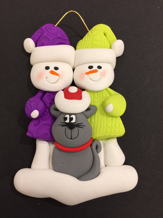 Couple with Grey Cat Ornament