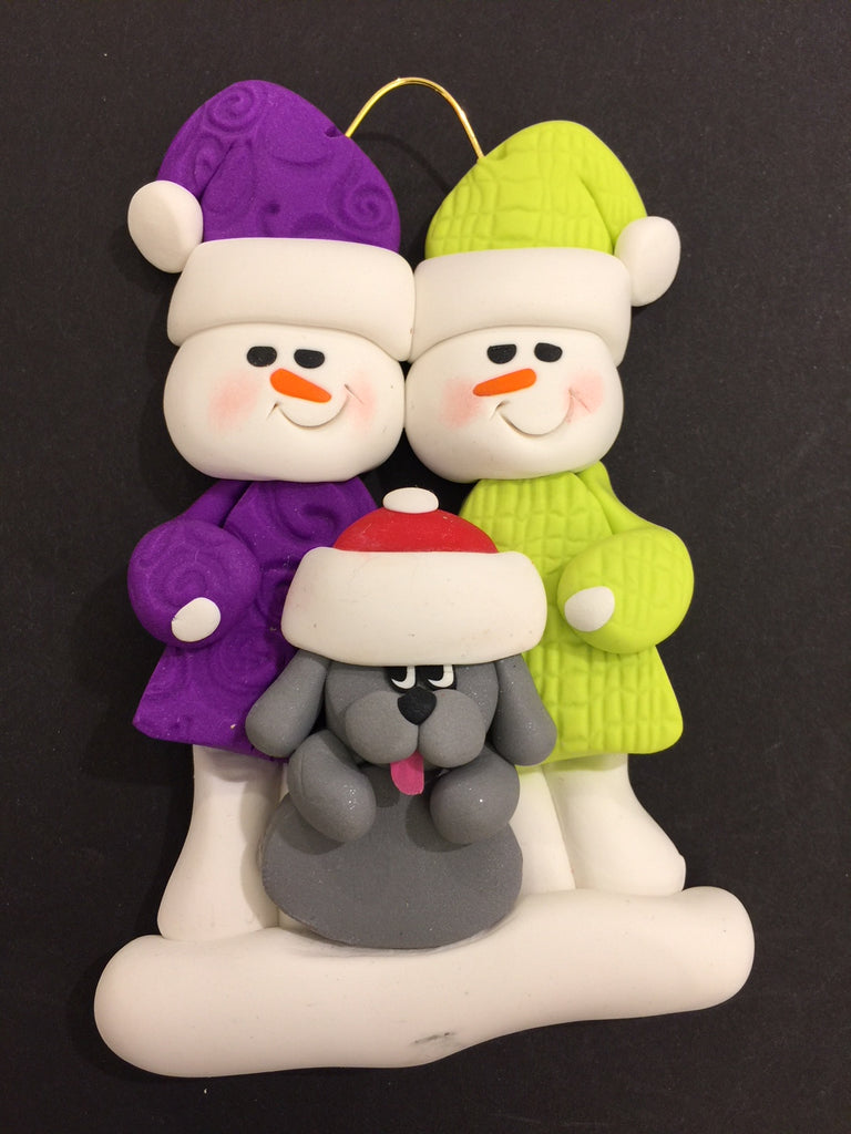 Couple with Grey Dog Ornament